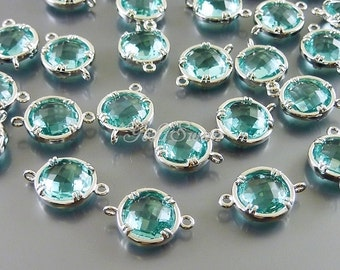 2 aquamarine blue 10mm glass connectors for jewelry / faceted round glass connectors / supplies 5014R-AQ-10