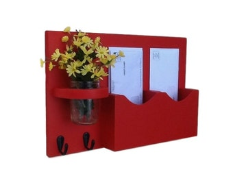 Mail Organizer - Mail and Key Holder - Letter Holder - Double Slots - Key Hooks - Jar Vase - Organizer - Painted Wood