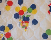 Vintage Pre-Quilted Fabric - Bright Clowns and Balloons - Children's Fabric By the Yard