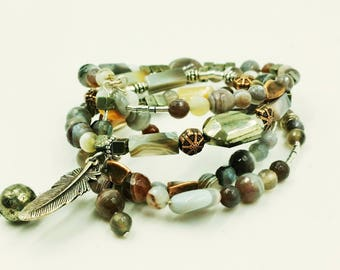 Botswana and Pyrite Memory Wire Bracelet
