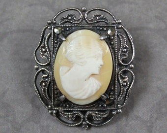 Vintage Sterling Silver Oval Marcasite Shell Cameo Brooch