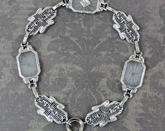 Art Deco 1920s to 1940s 14K White Gold Filigree Linked Camphor Glass Diamond Bracelet