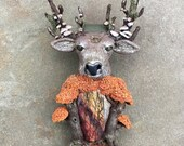 Polymer Clay Art Jewelry - Stag Animal Totem Forest Spirit Deer Necklace