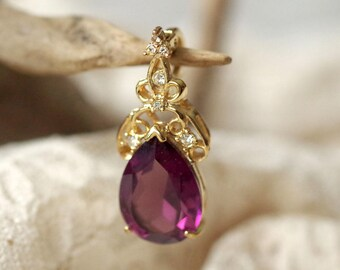 Amethyst Rhinestone Pendant - Gold Tone large purple glass and zirconia pendant