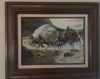 I Amaro Original Western Cowboys Painting on Canvas Signed and Framed