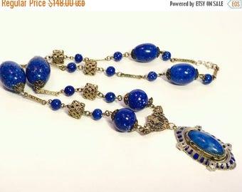 SALE CLEARNCE SALE Art Deco Italian Blue Lapis Art Glass Silver Vintage Antique Necklace