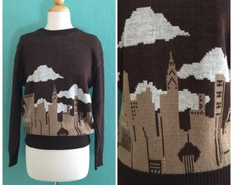 70's brown novelty sweater // city landscapes knit top ~ small medium