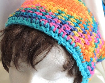 Messy Bun/Ponytail Hat Bright Pastel Yarn Pool Crochet Adult Size