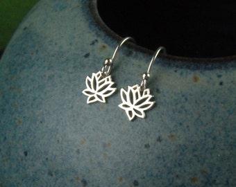 Tiny silver lotus charm earrings, sterling silver earrings, lotus earrings, lotus flower charms, silver earrings