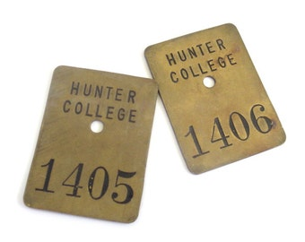 Vintage Hunter College Locker Tags // 1405/1406