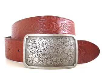 Vintage Fossil Embossed Leather Belt with Floral Metal Buckle