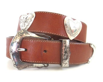 Vintage Weathered Brighton Belt with Heart Conchos