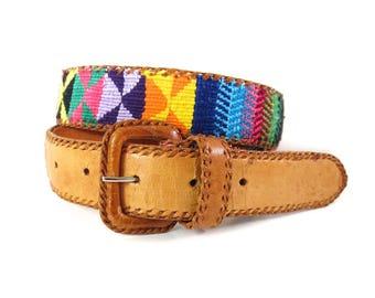 Vintage Guatemala Woven and Leather Belt // Size Medium