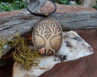 tree of life etched metal jewelry handmade jewelry brass tree tiny copper heart nature inspired tree metal boho jewelry etched brass