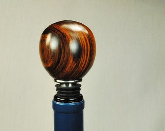 Wine Bottle Stopper Handmade Wood and Stainless Steel Wine Cork, Cocobolo Wood Handcrafted by ASH Woodshops Great Gift