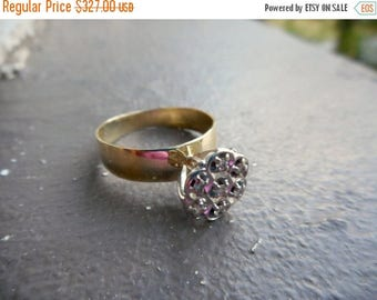 25% off now! Vintage Diamond Cluster Engagement ring. Stunning Victorian Cluster Vintage 10 K yellow gold, and white gold