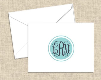 Personalized Stationery - Foldover Note Cards with White Envelopes - set of 10