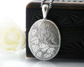 Victorian Locket Sterling Silver | Large Cushion Oval Antique Locket Necklace, Hand Chased All-Over Fern Pattern - 34 Inch Long Chain Locket
