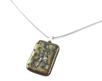 Necklace, Pendant, Bronze Iridescent, Matte Finish, Clear Drops