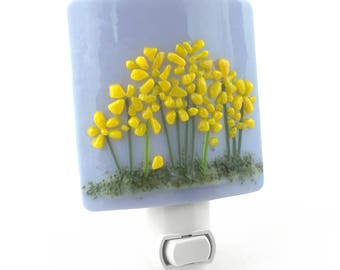 Night Light Plug In, Light Purple with Yellow Flowers