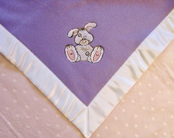 Baby Blanket Lavender Fleece Pink Star Minky with Bunny Ready to Ship