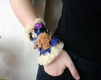 Fabric Cuff Bracelet, Embellished cuff Floral Wrist Corsage, Colorful Flower Corsage, Textile Bracelet