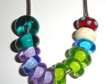 SALE! Random Euro-charm Ringlet Lot..12 beads.. Handmade Lampwork Beads for European bracelets...BeatleBaby Glassworks