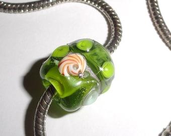 Sea Pandy in Lime...Handmade Lampwork Bead nautilus shell European Charm bracelets or smaller Dreadlocks...5mm hole BeatleBaby