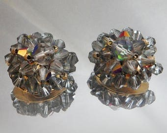 ON SALE Vintage Smoky Gray Beaded Earrings. Aurora Borealis Crystals. Wedding. Bride