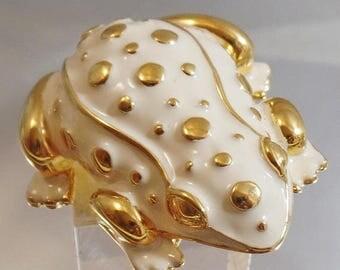 ON SALE Vintage KJL Large Enamel Frog Brooch.  Kenneth J. Lane Cream and Gold Frog Pin.