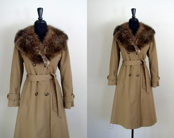 Vintage 1970's Winter Trench / 70's Tan Trench Coat with Raccoon Fur Collar / Boho Belted Jacket
