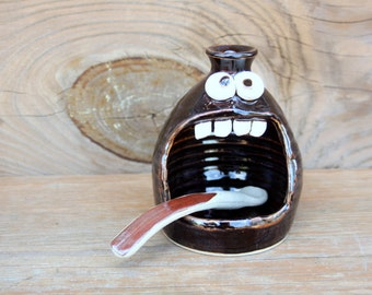 Funny Face Salt Cellar Stoneware Pottery Salt Keeper Kitchenware Chocolate Black Functional Pottery. Dipper Spoon Included. Uncommon Ug Chug