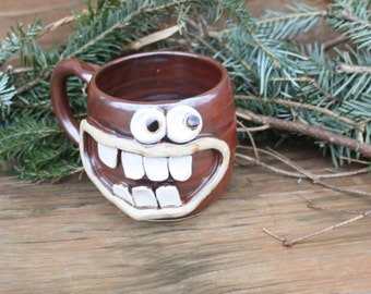 Big Beer Mug. Happy Face. Unique Tea Drinker Lover Gift Coffee Cup. Brick Red Brown Positive Attitude Mug. Handmade Stoneware Pottery Mug.