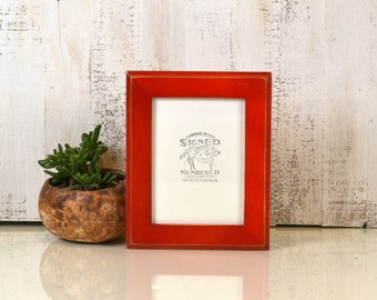 "6x8"" Picture Frame Outside Cove Style with Vintage Red Dye Finish - IN STOCK - Same Day Shipping - Rustic 6 x 8 Picture Frames"