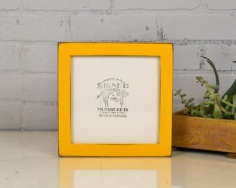 """7x7"""" Square Picture Frame in 1x1 Flat Style with Vintage Buttercup Yellow Finish - IN STOCK - Same Day Shipping - 7x7 Photo Frame Yellow"""