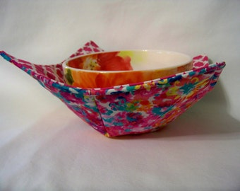 Microwave Bowl Cozy - Flower Fields - Bowl Pot Holder - Reversible -  Ready to Ship