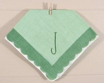 Vintage J Monogrammed Hankie / J Monogrammed Hankerchief / Green J Hankie