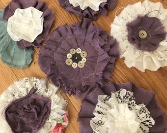 Set of 6 Large Shabby Chic Flower Embellishments, Rustic, Tattered, Torn, Stitched Appliques