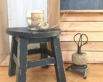 CUSTOM ORDER for PATRICE Black Farmhouse Milking Stool Rustic Stool or Plant Stand Chippy and One of A Kind