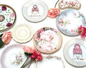 GORGEOUS China Plate Wall Decor French Plates Reds Pinks Rose Florals Mismatched China Collection Set of 13