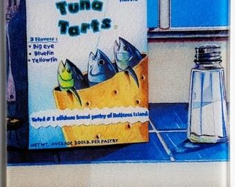 Tuna Tarts glass Cutting Board fun fishing kitchen art Pop Tarts yellowfin bluefin Boats