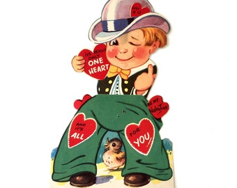 """Vintage 1950s Large 8"""" Valentines Card USED Articulated Boy / I've Really Only One Heart And It's All For You, Be My Valentine!"""