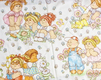 Vintage 1980s Childrens Bedding / Cabbage Patch Twin Flat Sheet / Repurpose Upcycle Fabric