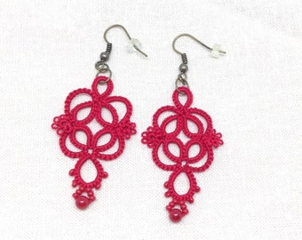 Red Lace Earrings-Romantic Jewelry-Tatted Lace Earrings-Gift for her