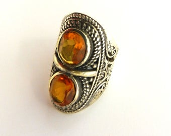 Double oval Topaz crystals  Ring, 800 Silver, Vintage Ring, Long, Two unfoiled Stone,  Size 7, Boho-chic style - Art.723/4