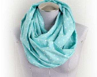 Aqua and White Polka Dot Flannel Infinity Scarf