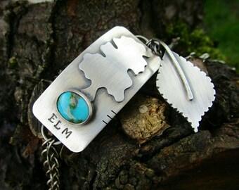 SALE 25% OFF elm tree sterling silver turquoise bracelet - tree bracelet - botanical bracelet - nature bracelet - woodland bracelet - boho