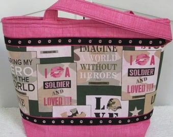 Love My Soldier Army Large Tote Bag Army Camo Purse Freedom Isnt Free Tote Bag Ready To Ship