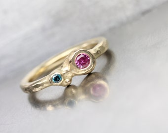 Pink Sapphire Teal Blue Diamond Engagement Ring 14K Yellow Gold Organic Double Gemstone Romantic Boho Low Profile Bridal Band - Sugar Orbs