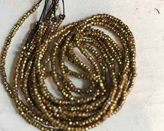 Bright brass cut Antique beads made in France faceted perfect diamond cut 42 inches